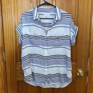 Linen Button Striped Shirt